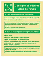 Consignes zone de refuge photoluminescent en PVC - 200 x 30 mm