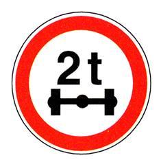 Panneau ´Limitation de poids par essieu´ - R29