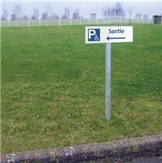 Kit de panneau de Sortie du parking PMR vers la gauche sur poteau