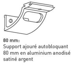 Support d´attache ajouré autobloquant de 80 mm pour main courante cylindrique - Intérieur