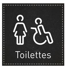 Plaque de Porte Toilettes Femmes et PMR - H110 x L110 mm - Gamme Black cuir
