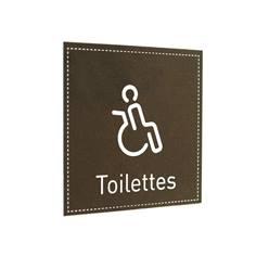 Plaque de Porte Toilettes PMR - H110 x L110 mm - Gamme Dark cuir