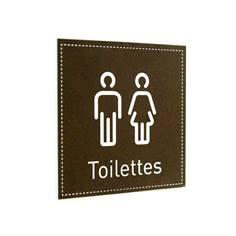 Plaque de Porte Toilettes Hommes et Femmes - H110 x L110 mm - Gamme Black cuir