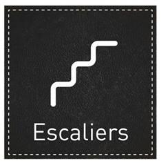 Plaque de Porte Escaliers - H110 x L110 mm - Gamme Black cuir