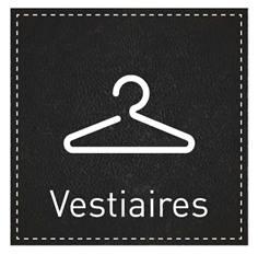 Plaque de Porte Vestiaires - H110 x L110 mm - Gamme Black cuir