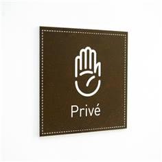 Plaque de Porte Privé - H110 x L110 mm - Gamme Black cuir