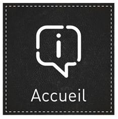 Plaque de Porte Accueil - H110 x L110 mm - Gamme Black cuir