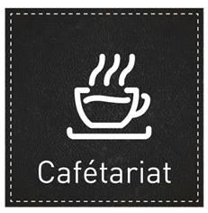 Plaque de Porte Cafétariat - H110 x L110 mm - Gamme Black cuir