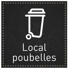 Plaque de Porte Local poubelles - H110 x L110 mm - Gamme Black cuir