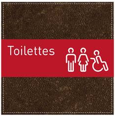 Plaque de Porte Toilettes Hommes, Femmes et PMR - H110 x L110 mm - Gamme Brown cuir