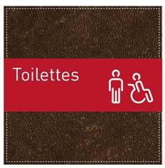 Plaque de Porte Toilettes Hommes et PMR - H110 x L110 mm - Gamme Brown cuir