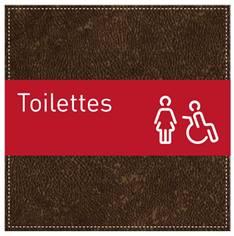 Plaque de Porte Toilettes Femmes et PMR - H110 x L110 mm - Gamme Brown cuir