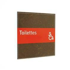 Plaque de Porte Toilettes PMR - H110 x L110 mm - Gamme Brown cuir