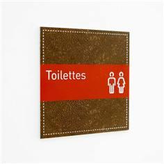 Plaque de Porte Toilettes Hommes et Femmes - H110 x L110 mm - Gamme Brown cuir
