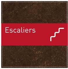 Plaque de Porte Escaliers - H110 x L110 mm - Gamme Brown cuir