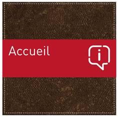 Plaque de Porte Accueil - H110 x L110 mm - Gamme Brown cuir
