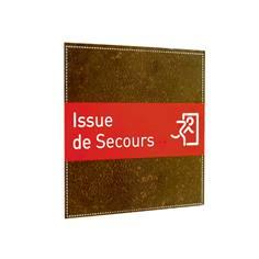 plaque de porte issue de secours brown cuir direct signal tique. Black Bedroom Furniture Sets. Home Design Ideas