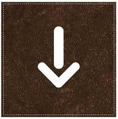 Plaque de Porte Flèche en bas - H110 x L110 mm - Gamme Brown cuir