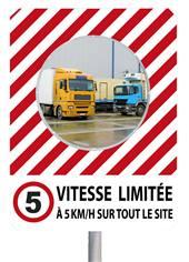 Miroir de sécurité à message VITESSE LIMITEE 5km/h - 900 x 1200 mm