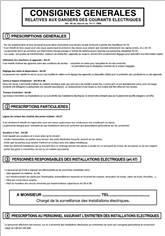Consignes générales relatives aux dangers des courants électriques - H 500 x L 350 mm