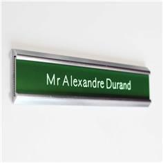 Plaque de porte coulissante avec étiquette gravée - Gamme Gravo Argenté