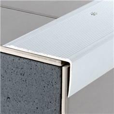 Nez de marche strié en aluminium anodisé avec axe déporté - percé - long. 3 m