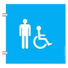 Plaque en drapeau Toilettes Hommes Handicapés - Gamme Pop Art - H170 x L170 mm