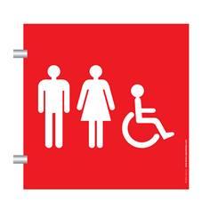 Plaque en drapeau Toilettes Mixtes PMR - Gamme Pop Art - H170 x L170 mm