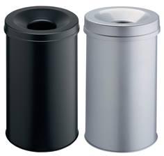 Corbeille à papier ronde avec couvercle étouffoir - 30 litres