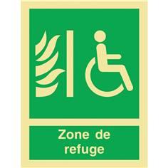 Panneau symbole + mention zone de refuge photoluminescent