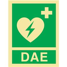Panneau symbole + mention DAE photoluminescent de Classe C - Modèle 2 de l´Arrêté du 29 octobre 2019