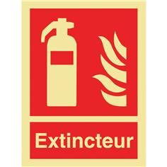 Panneau photoluminescent symbole + mention extincteur - Classe C