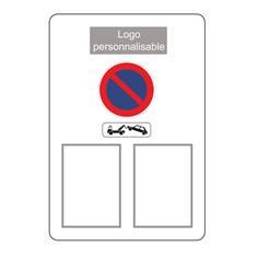 Panneau temporaire en dibond de 2 mm avec rails de fixation au dos - Modèle arrêté municipal avec pochetts transparentes - logo personnalisable - H800 x L550 mm