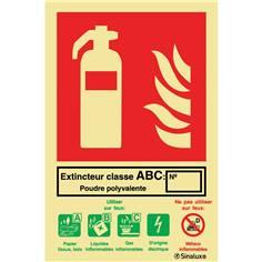 Signalétique photoluminescente extincteur classe ABC - 132 x 200 mm