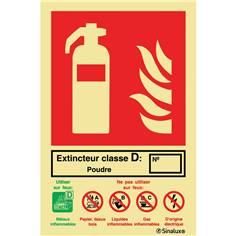 Signalétique indication extincteur Classe D photoluminescent - 132 x 200 mm