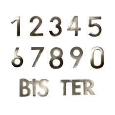 Numéro de maison en laiton finition inox - H 90 mm