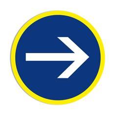 Panneau obligation Flèche sens obligatoire avec liseré jaune fluorescent