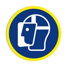 Panneau obligation Port de la visière de protection obligatoire avec liseré jaune fluorescent ISO 7010 - M013