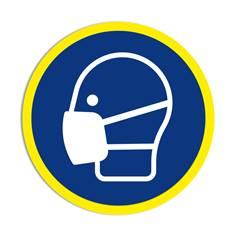 Panneau obligation Port de du masque obligatoire avec liseré jaune fluorescent ISO 7010 - M016