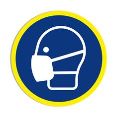 Panneau obligation Port du masque obligatoire avec liseré jaune fluorescent ISO 7010 - M016