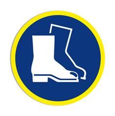 Panneau obligation Port de de chaussures de sécurité obligatoire avec liseré jaune fluorescent ISO 7010 - M008