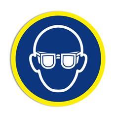 Panneau obligation Port des lunettes obligatoire avec liseré jaune fluorescent ISO 7010 - M004