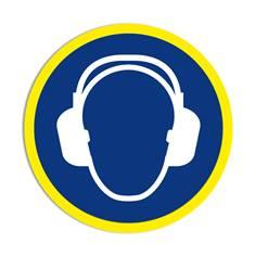 Panneau obligation Port du casque anti-bruit obligatoire avec liseré jaune fluorescent ISO 7010 - M003