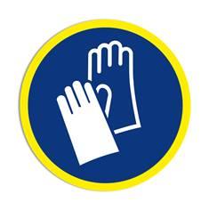 Panneau obligation Port des gants de protection obligatoire avec liseré jaune fluorescent ISO 7010 - M009