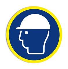Panneau obligation Port du casque obligatoire avec liseré jaune fluorescent ISO 7010 - M014