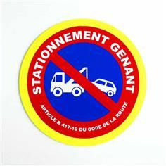 Panneau interdiction Défense de stationner mise en fourrière avec liseré jaune fluorescent