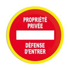 Panneau interdiction Propriété privé Défense d´entrer avec liseré jaune fluorescent