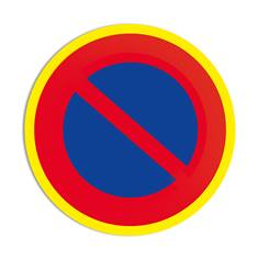 Panneau interdiction de stationner avec liseré jaune fluorescent