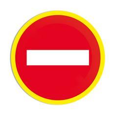 Panneau interdiction Sens interdit avec liseré jaune fluorescent