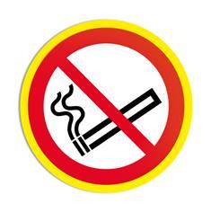 Panneau interdiction de fumer avec liseré jaune fluorescent ISO 7010 - P002